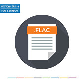 FLAC audio document file format flat icon