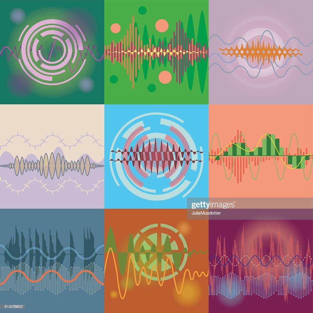 Audio Equalizer Technology vector set.