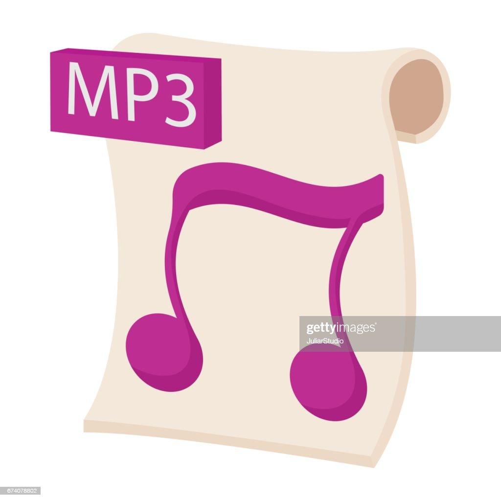 MP3 audio file extension icon, cartoon style