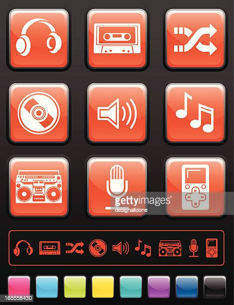 audio icon set - desk toy stock illustrations, clip art, cartoons, & icons