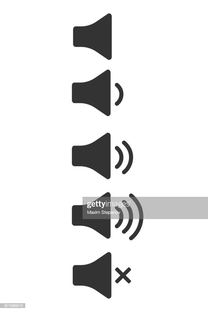 Audio icons. Sound buttons for web or app isolated on white background. Mute symbol. Sound signs