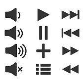 Audio icons. Sound buttons. Play button. Pause sign. Symbol for web or app.