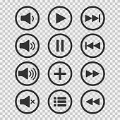 Audio icons. Sound buttons. Play button. Pause sign. Symbol for web or app. Vector illustration.