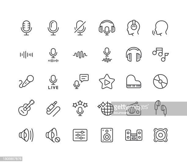 illustrazioni stock, clip art, cartoni animati e icone di tendenza di icone linea audio tratto modificabile - studio di registrazione