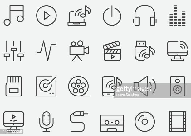 audio media and multimedia line icons - power supply stock illustrations