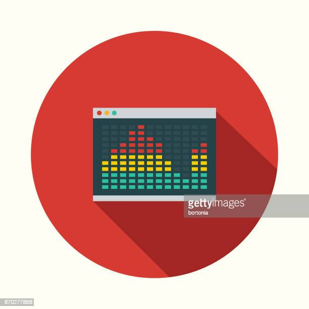 audio player flat design communications icon with side shadow - volume unit meter stock illustrations, clip art, cartoons, & icons