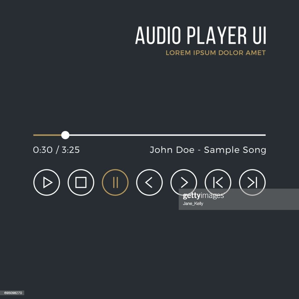Audio player interface. Timeline, buttons, icons, artist name, song title. Media player ui, white and gold gui. Thin line design. Minimalistic dark theme. Vector illustration