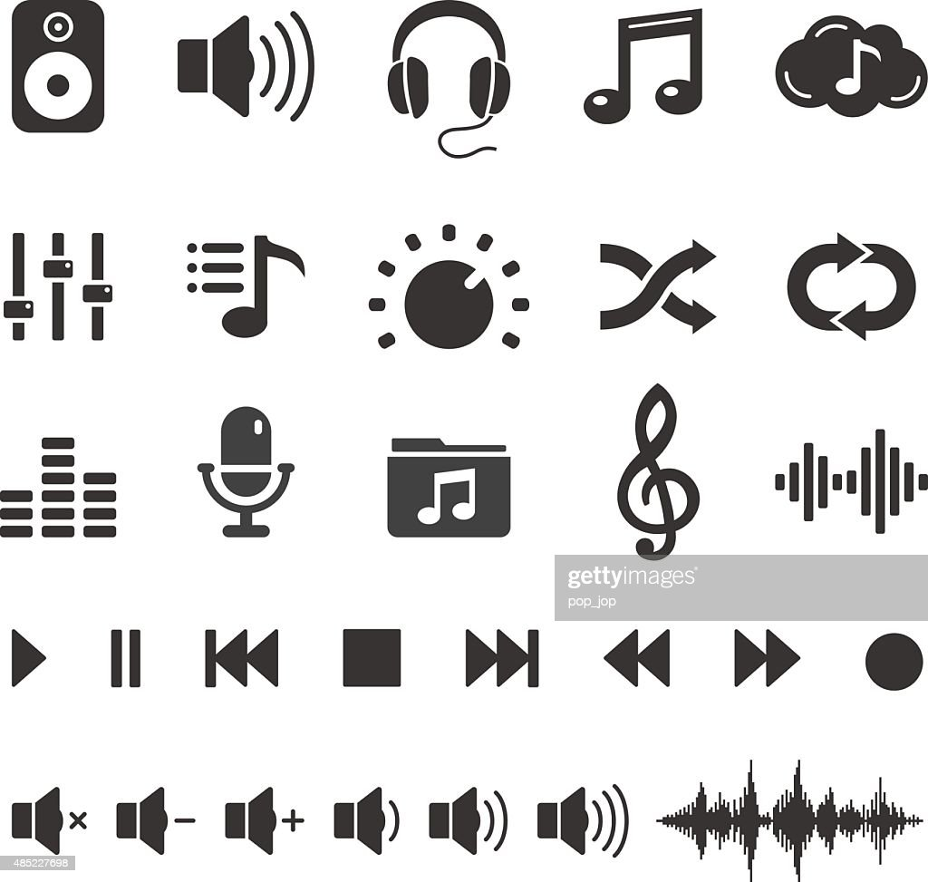 Audio Sound Music Icons and Player Buttons - Vector Set : stock illustration