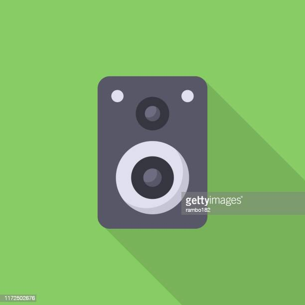 audio speaker flat icon. pixel perfect. for mobile and web. - soundtrack stock illustrations, clip art, cartoons, & icons