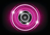 Audio speaker with pink circle technology background