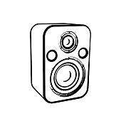 Audio speaker.Isolated on white background.