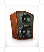 Audio speakers in plane wooden body, vector icon