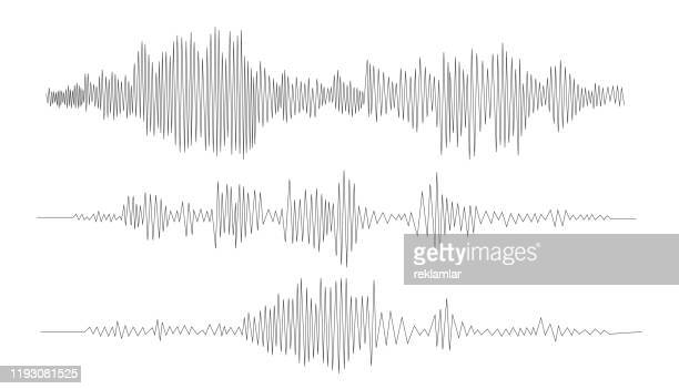 illustrazioni stock, clip art, cartoni animati e icone di tendenza di audio technology, music sound waves vector icon illustration. vector sound waves. - segnare