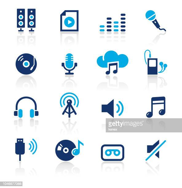 audio two color icons set - usb cable stock illustrations, clip art, cartoons, & icons