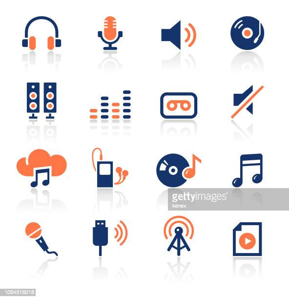 audio two color icons set - headphones stock illustrations