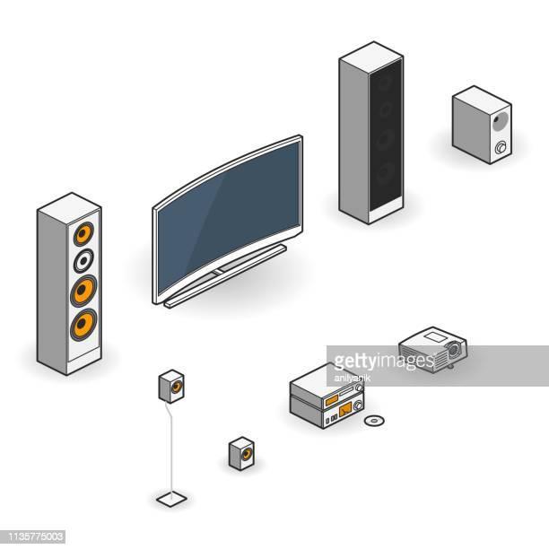 audio/ video - projection equipment stock illustrations