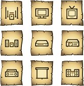 Audio video web icons, papyrus series
