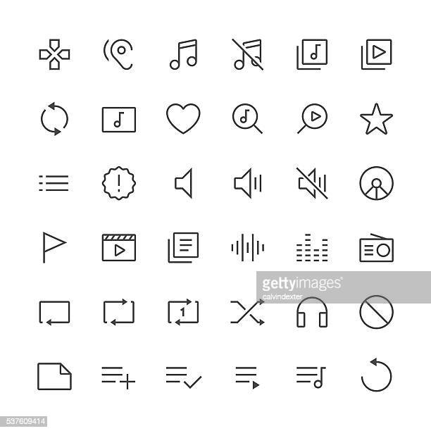 audio visual icons set 2 | thin line serie - shuffling stock illustrations