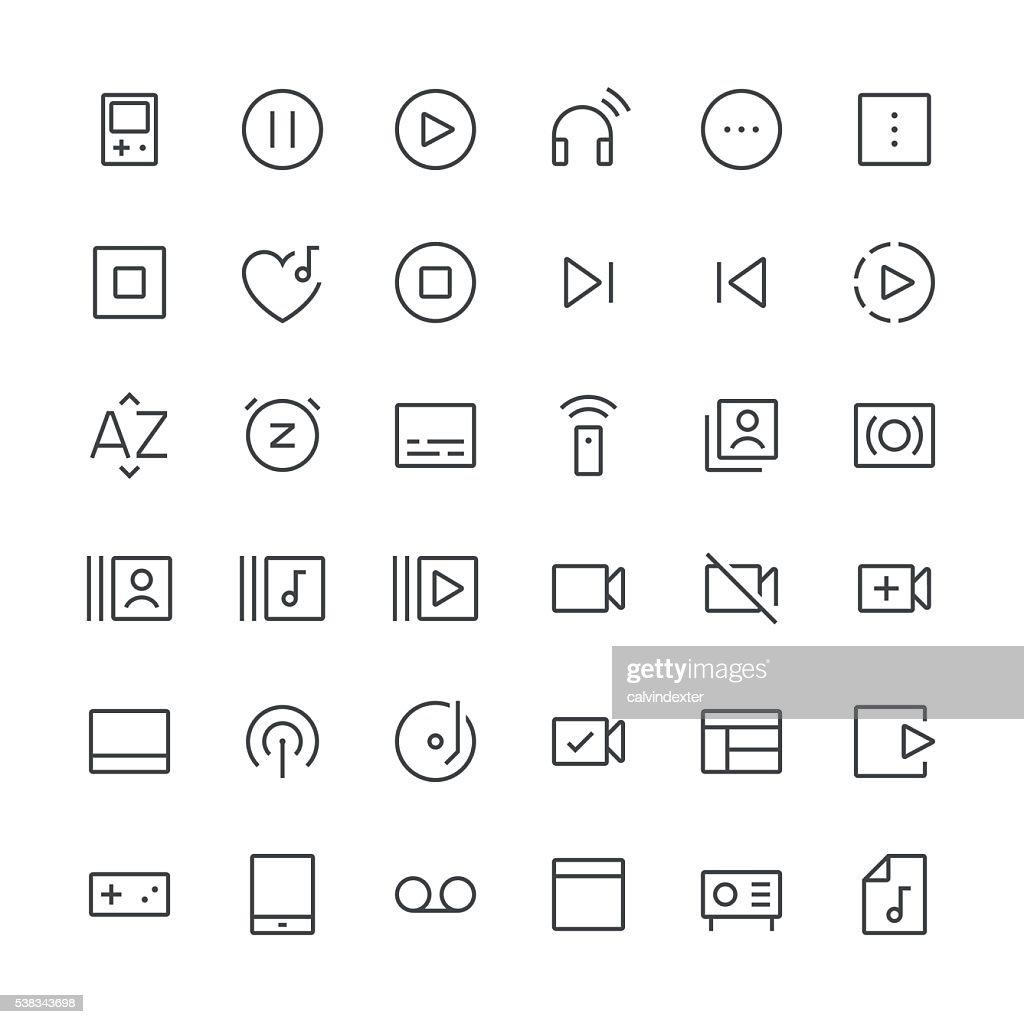 Audio Visual icons set 4   Thin Line series