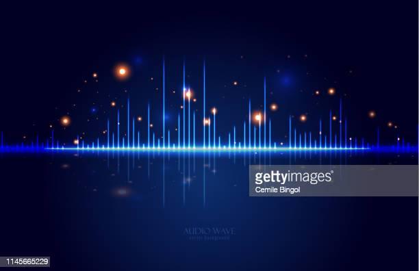 illustrazioni stock, clip art, cartoni animati e icone di tendenza di sfondo vettoriale onde audio - studio di registrazione