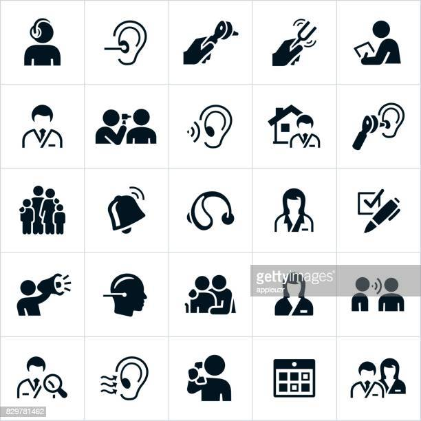audiology and hearing icons - ear stock illustrations