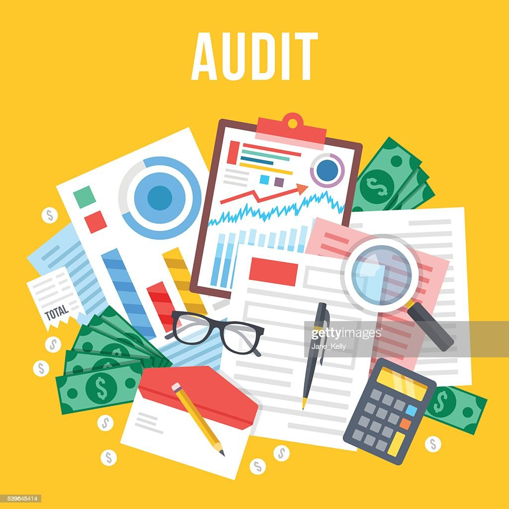 Audit, documents analysis, business review. Top view. Flat vector illustration
