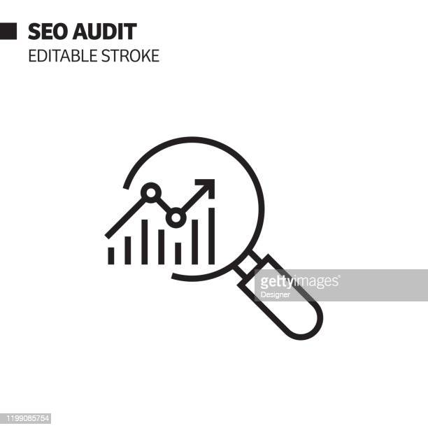 seo audit line icon, umriss vektor symbol illustration. pixel perfekt, editierbarer strich. - analysieren stock-grafiken, -clipart, -cartoons und -symbole