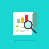 Audit research report icon vector symbol, flat cartoon design quality control evaluation pictogram, financial fraud check or tax analysis sign, concept of accounting or statistic document