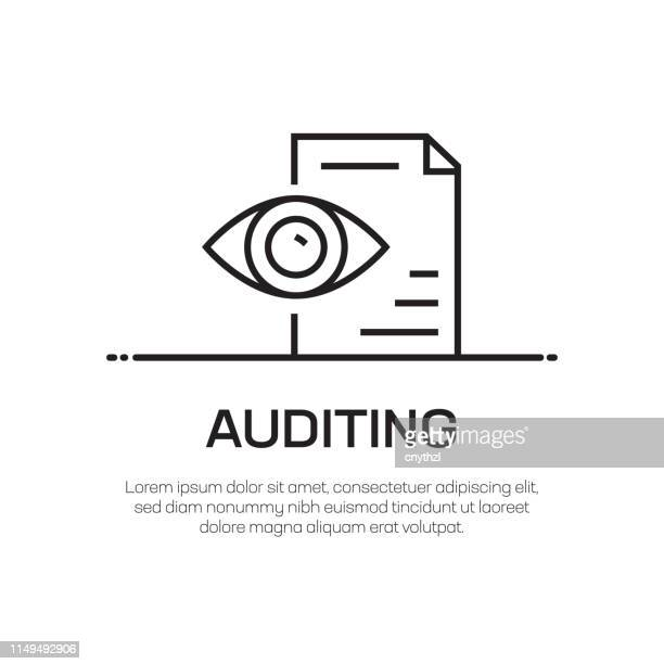 auditing vector line icon - simple thin line icon, premium quality design element - validation stock illustrations, clip art, cartoons, & icons