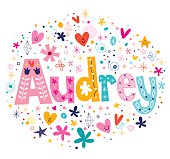 Audrey female name decorative lettering type design