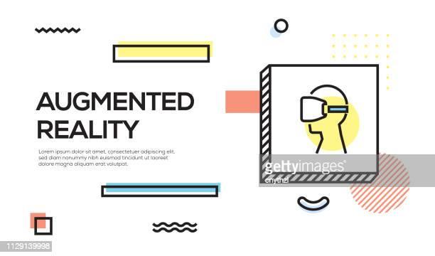 拡張現実感の概念。幾何学的なレトロ スタイル バナーと拡張現実感のアイコン ポスター コンセプト - メンフィス点のイラスト素材/クリップアート素材/マンガ素材/アイコン素材