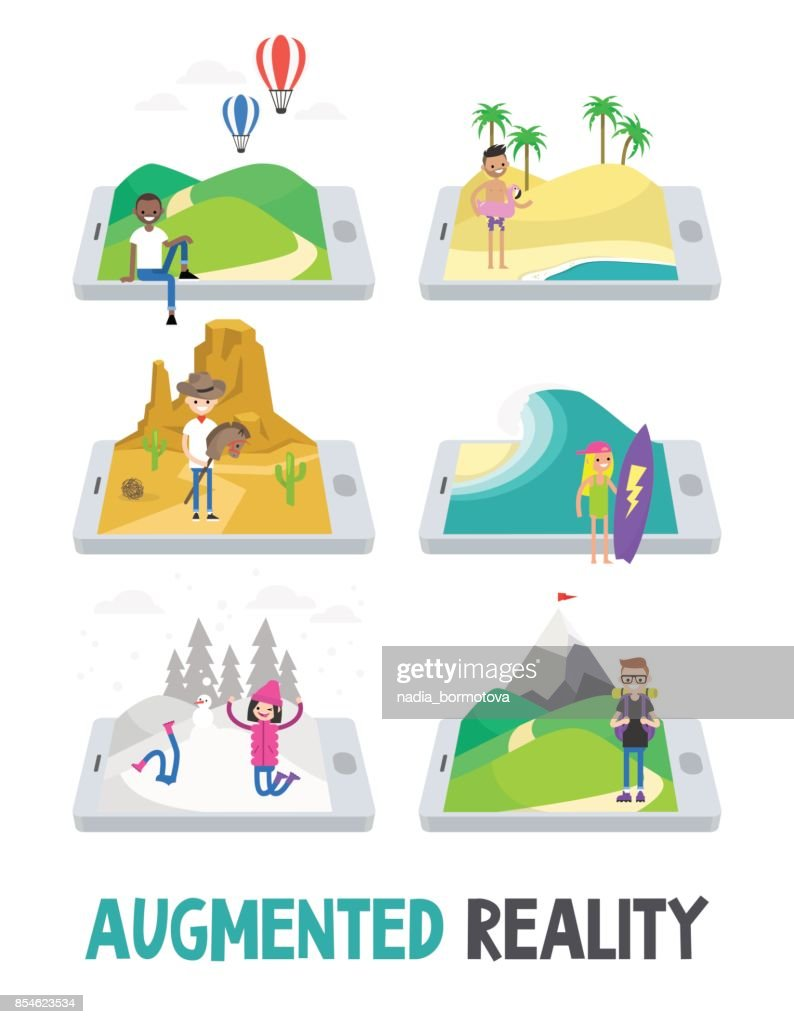 Augmented reality conceptual illustration. Three dimensional images extending on the mobile screen / flat vector illustration, clip art