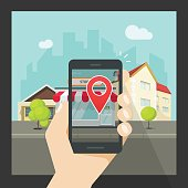 Augmented reality on mobile phone, virtual location smartphone navigation