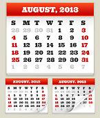 August 2013 Calendar Set