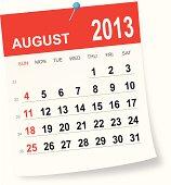 August 2013 calendar