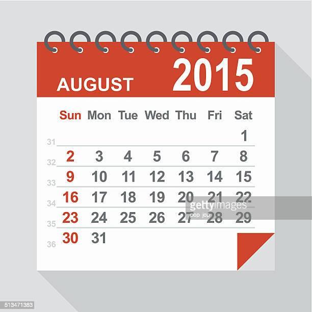 De Agosto de 2015 calendário-ilustração
