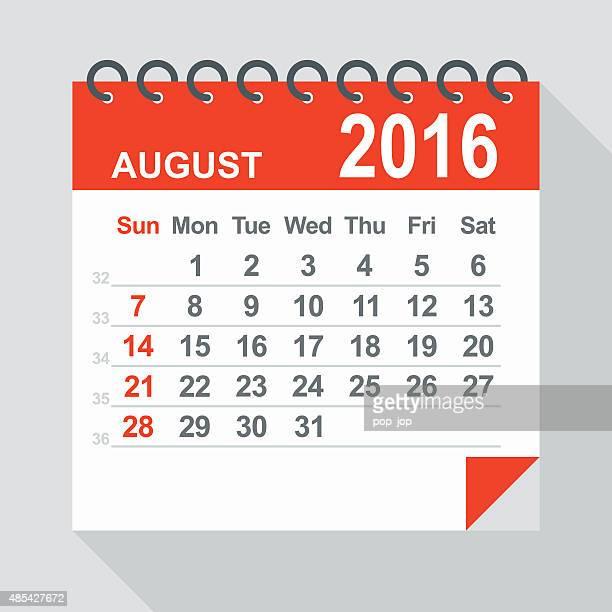 Ilustração de Agosto de 2016 calendário