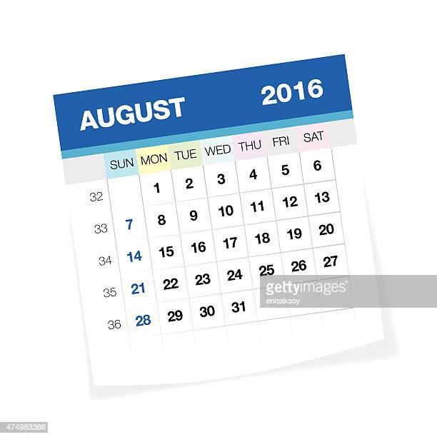 De Agosto de 2016 calendário