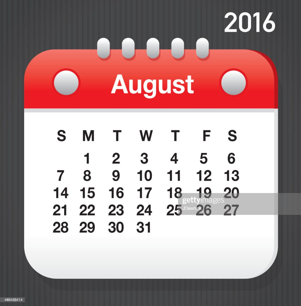 August Calendar Template 2016 from media.gettyimages.com