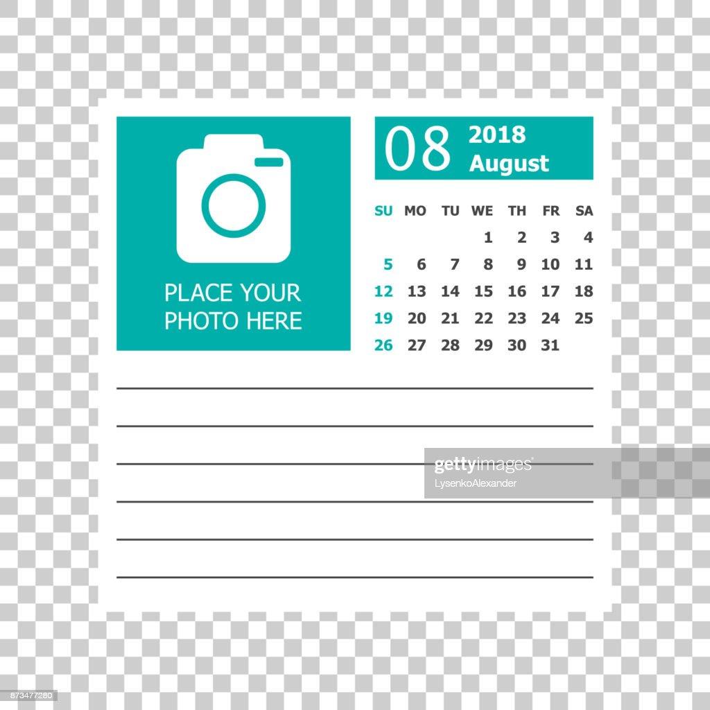 august 2018 calendar calendar planner design template week starts on