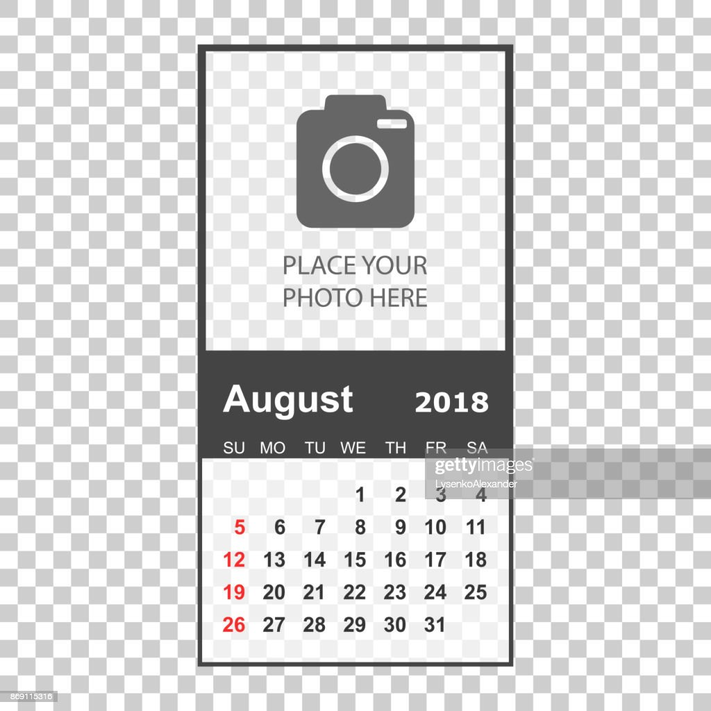 august 2018 calendar calendar planner design template with place for