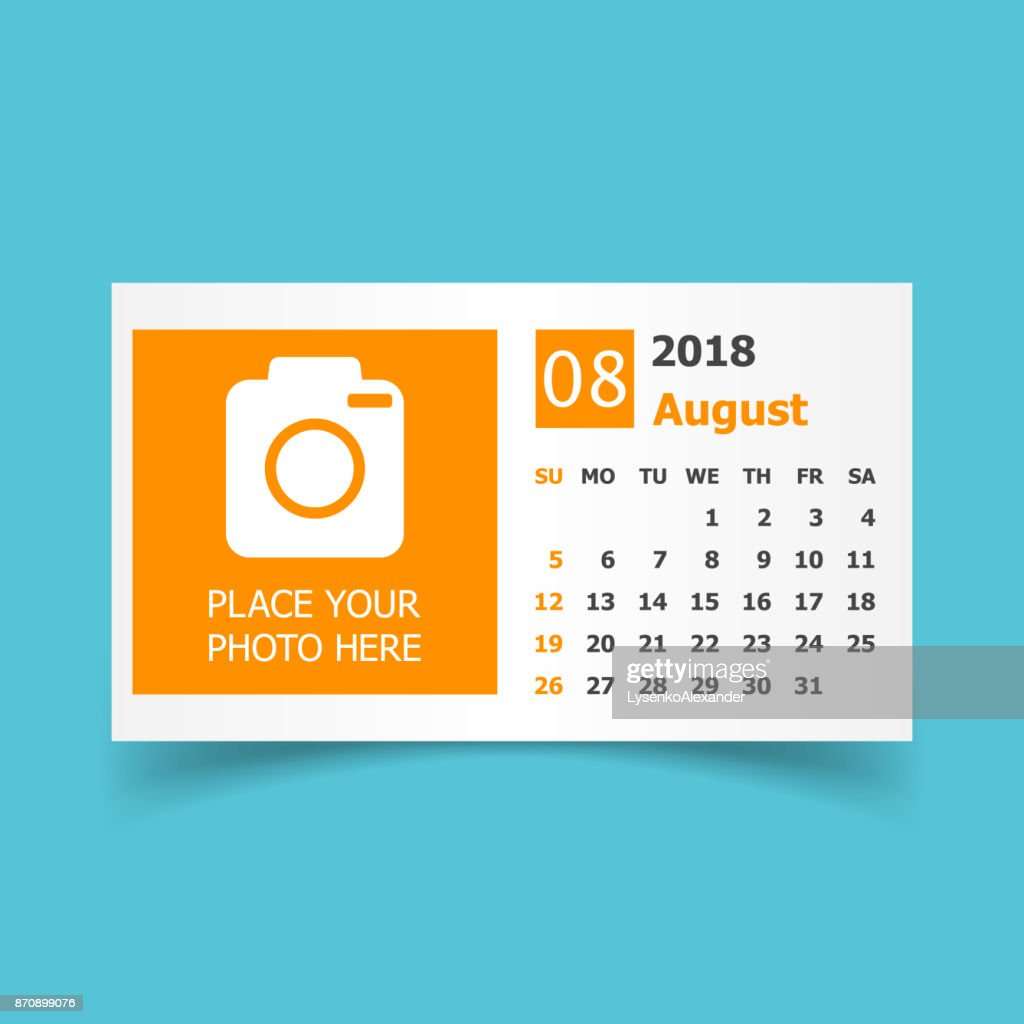 August 2018 calendar. Calendar planner design template with place for photo. Week starts on sunday. Business vector illustration.