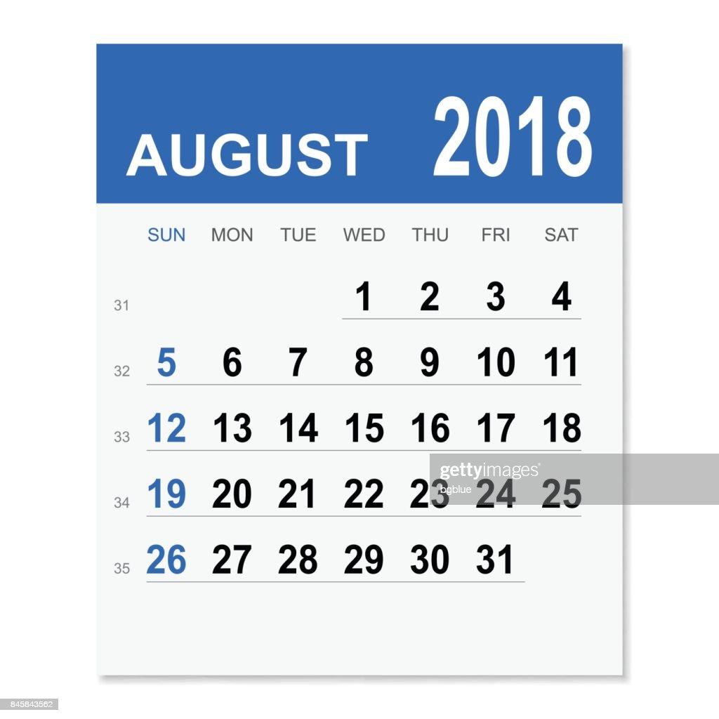 august 2018 calendar vector art
