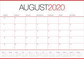 August 2020 desk calendar vector illustration