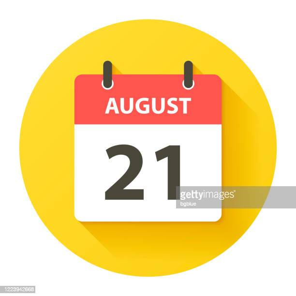 august 21 - round daily calendar icon in flat design style - august stock illustrations