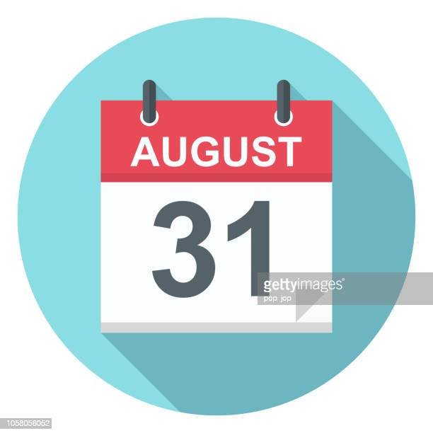 august 31 - calendar icon - august stock illustrations