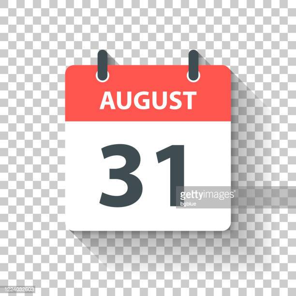 august 31 - daily calendar icon in flat design style - august stock illustrations