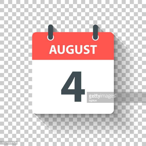august 4 - daily calendar icon in flat design style - august stock illustrations