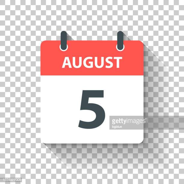 august 5 - daily calendar icon in flat design style - august stock illustrations