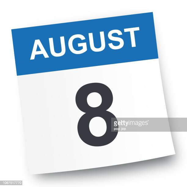 august 8 - calendar icon - august stock illustrations